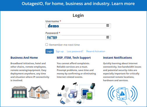 Try OutagesIO demo of Internet outage monitoring
